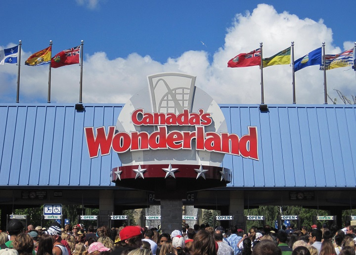People line up to enter Canada's Wonderland amusement park northwest of Toronto on July 12, 2011.