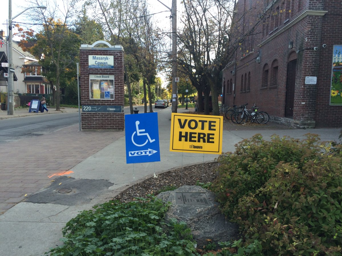 An advance polling station in Parkdale Oct. 19, 2014.