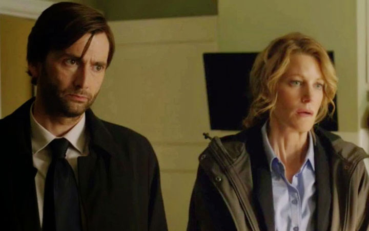 Anna Gunn, right, with David Tennant in a scene from 'Gracepoint.'.
