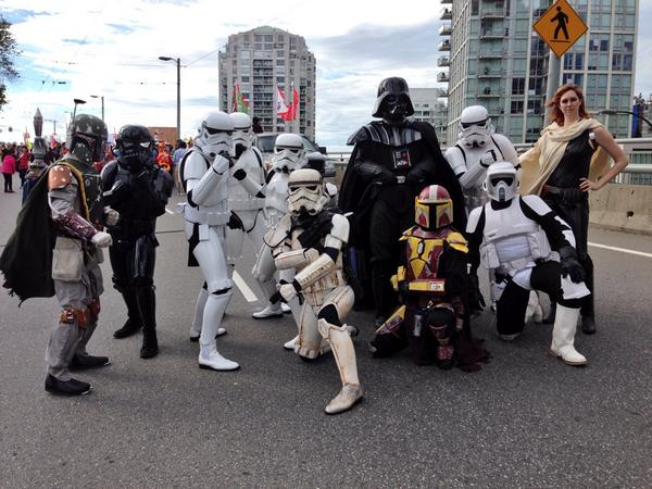 Participants show off their costumes in Vancouver's Halloween Parade.