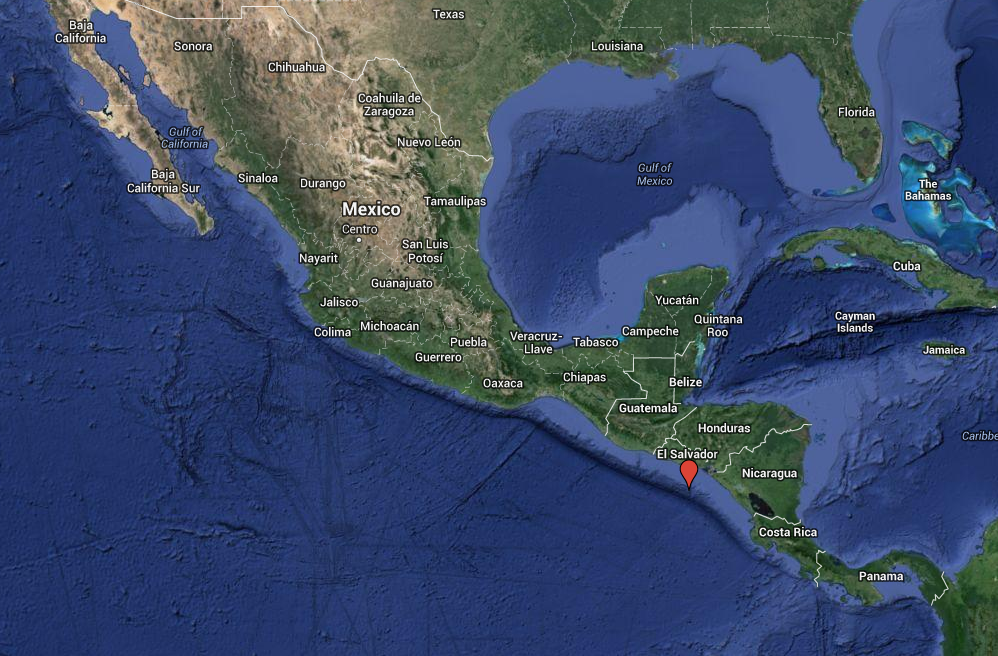 Location of a 7.4 underwater earthquake the struck off the coast of El Salvador at 9:51 p.m. local time on October 13, 2014.