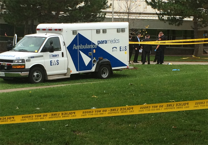 Police investigate after a woman was found dead outside of a Toronto community centre.