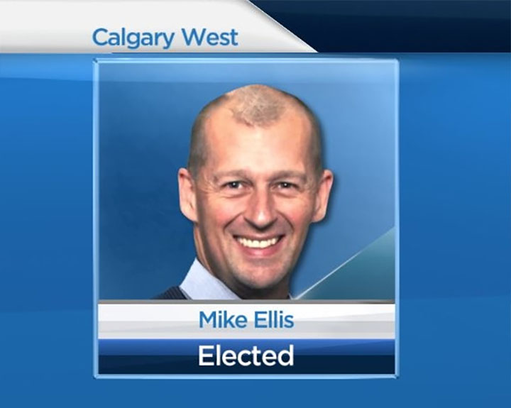 Calgary police officer Mike Ellis won the byelection in Calgary-West in a close race with the Wildrose candidate.