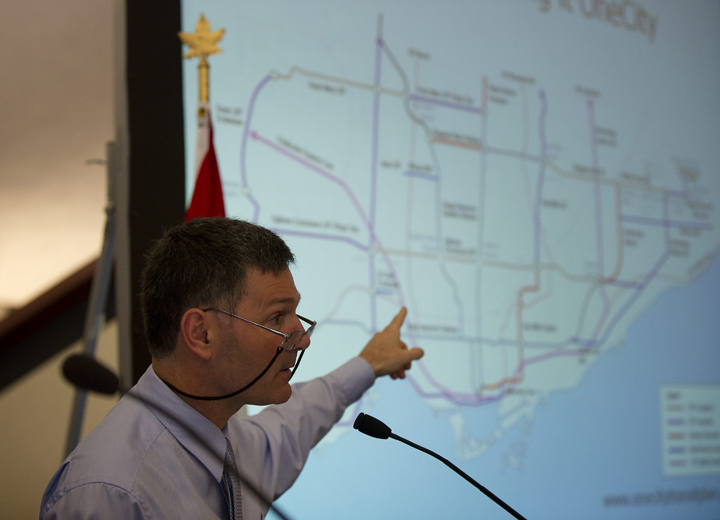 Councillor Glenn De Baeremaeker, who along with Councillor Karen Stintz unveils a $30-billion, 30-year transit proposal in Toronto, Ont. Wednesday, June 27/2012.