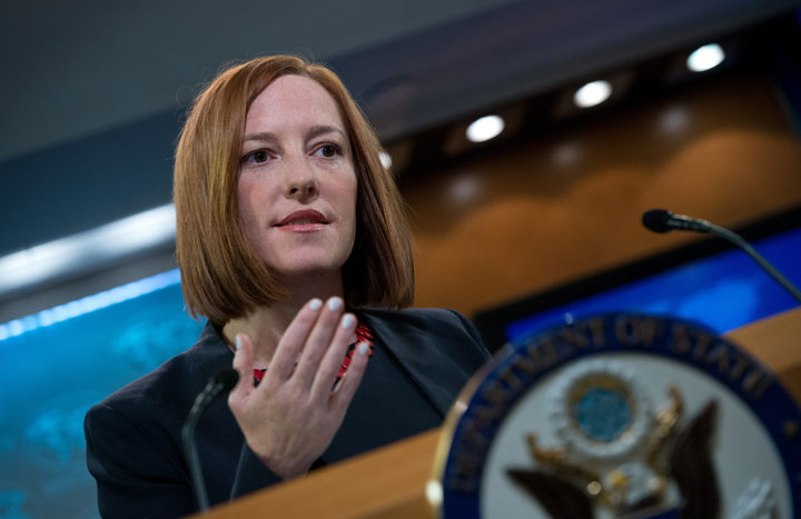 US State Department spokeswoman Jen Psaki speaks at the daily briefing at the State Department in Washington,dc on March 10, 2014.