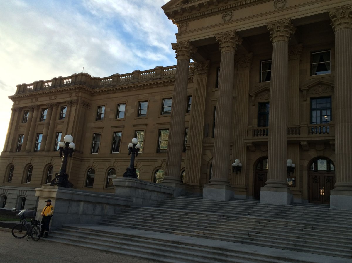 A pair of sheriffs are stationed outside the Alberta Legislature on Wednesday, October 22, 2014.