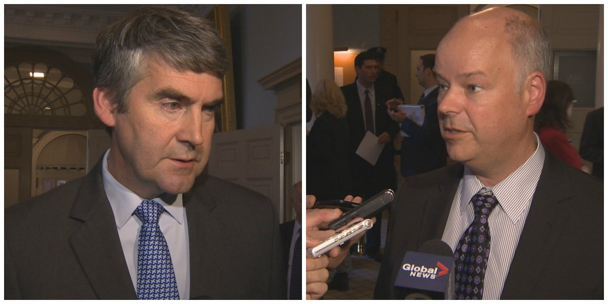 Premier Stephen McNeil and Opposition Leader Jamie Baillie speak to reporters at Province House on Oct. 9.