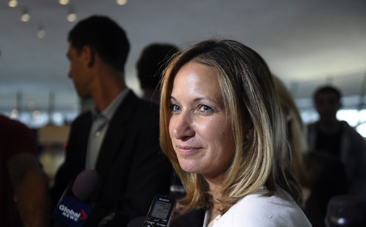 Toronto city councillor Michelle Berardinetti is photographed curing a media scrum at Toronto city hall on July 10 2014.