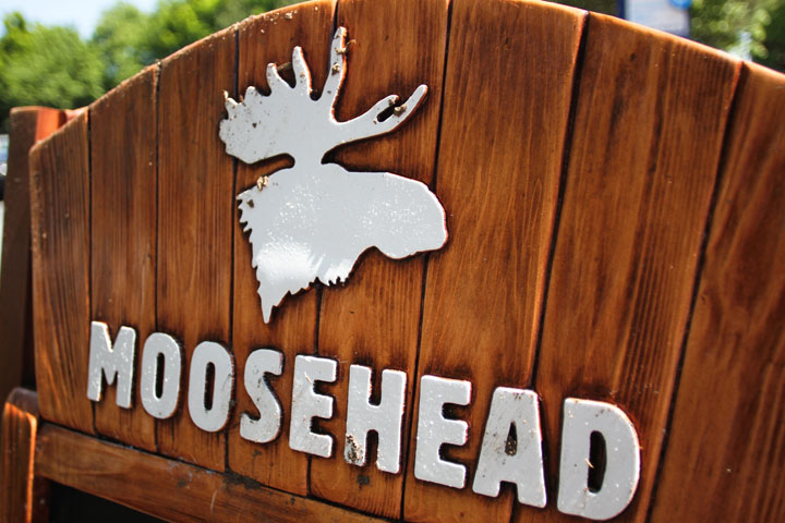 A Moosehead beer sign along the waterfront in Halifax on June 11, 2012.