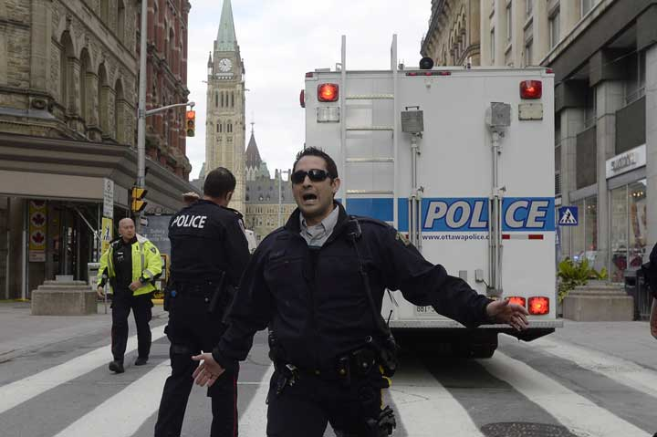 Police secure an area around Parliament Hill in Ottawa on Wednesday Oct.22, 2014.