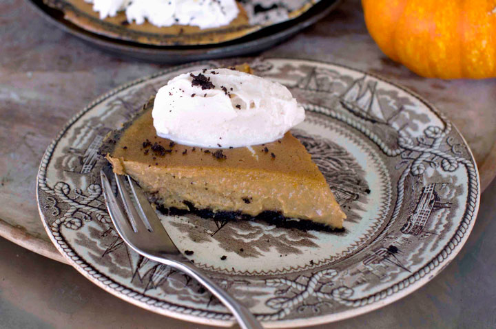 This Oct. 20, 2014, photo shows ultra creamy pumpkin pie in Concord, N.H. The pie has a chocolate crumb pie crust, but the filling will work wonderfully in any crust.