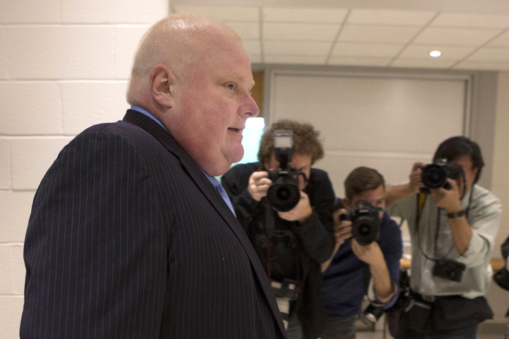 Toronto Mayor Rob Ford is photographed as he arrives to cast his ballot in advance voting for the Toronto Municipal Election at an Etobicoke polling station on Tuesday October 14, 2014.