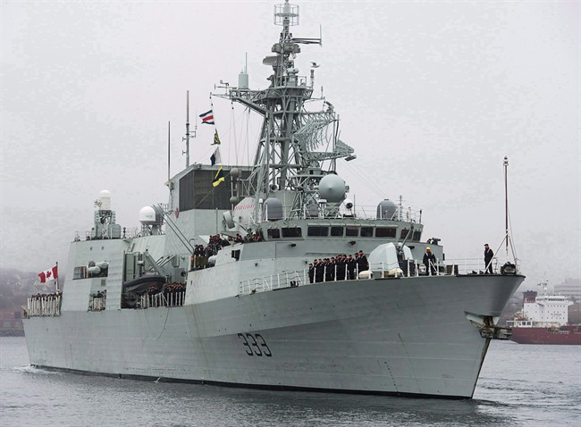 HMCS Toronto heads out of the Halifax harbour on Jan.14, 2013.