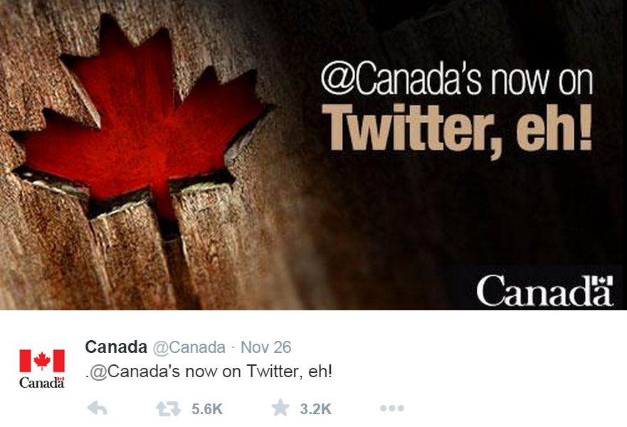 Federal government's new Twitter account @Canada.
