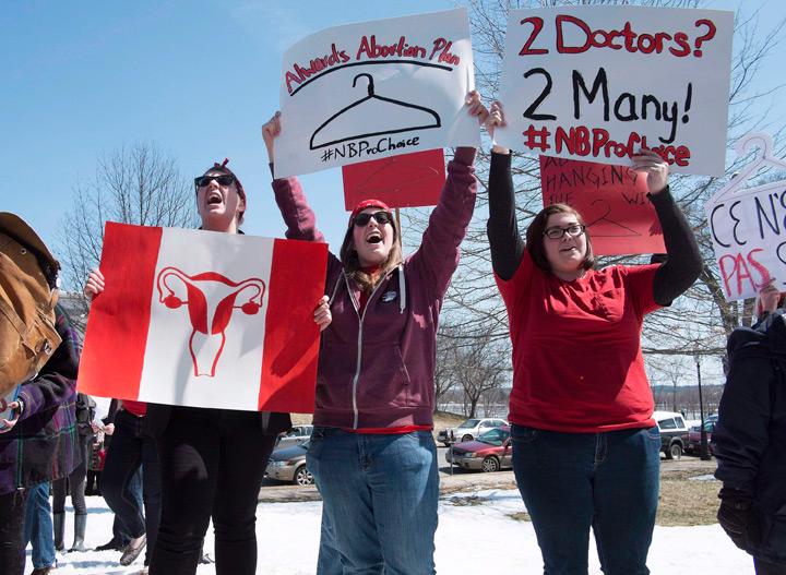 Pro-choice demonstrators in New Brunswick in April 2014.