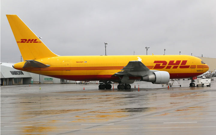 A DHL Boeing 767 cargo airplane at the Hamilton airport on Oct. 17, 2014.