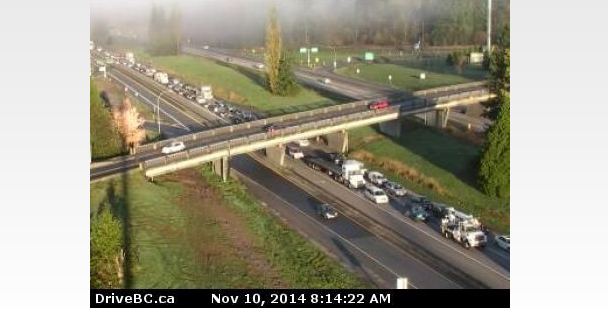 Huge delays on Highway 1 in Langley Monday morning.