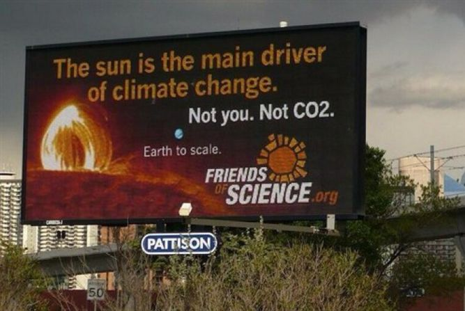 The Friends of Science billboard in Calgary.