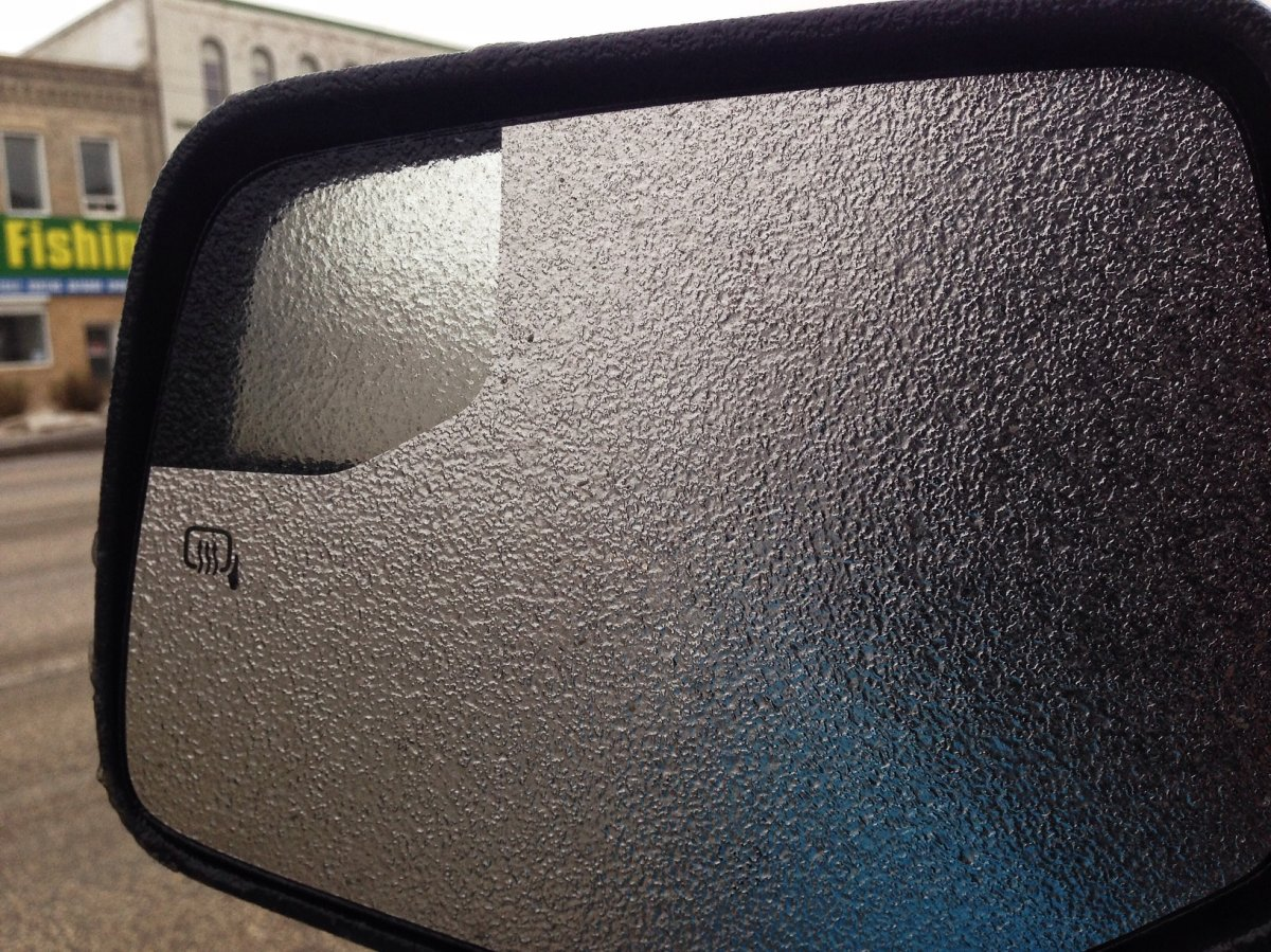 Sunday's freezing rain coated roads and caused power outages in Manitoba.