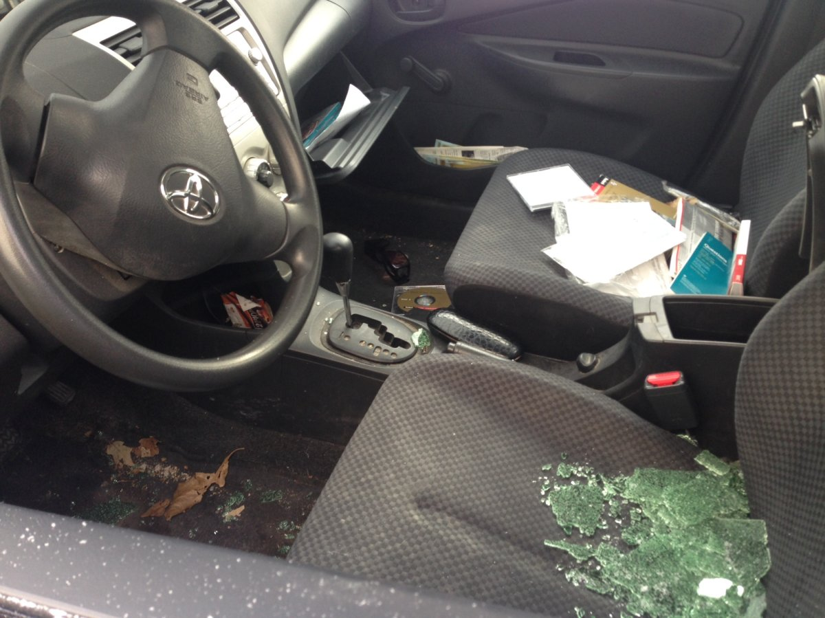 One of 24 vehicles that was broken into in River Heights.