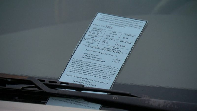 A parking ticket left on a driver's windshield.