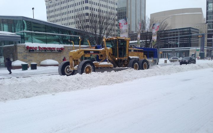 Snow plow clearing snow downtown Edmonton Friday, Nov. 28, 2014.