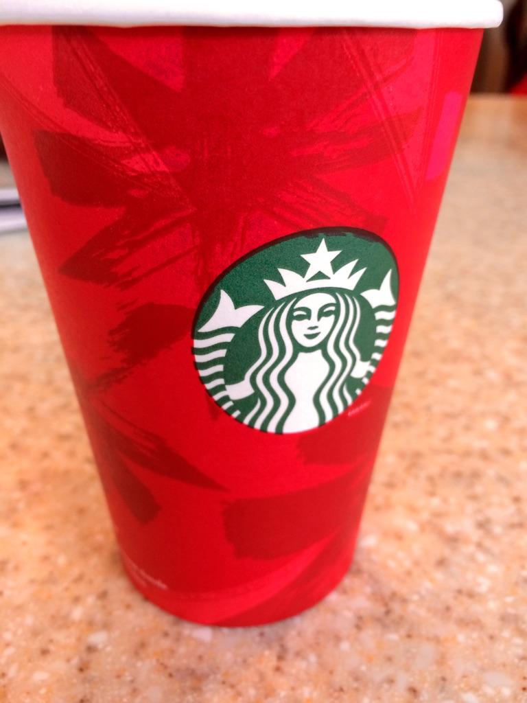 The iconic Starbucks red holiday cup.