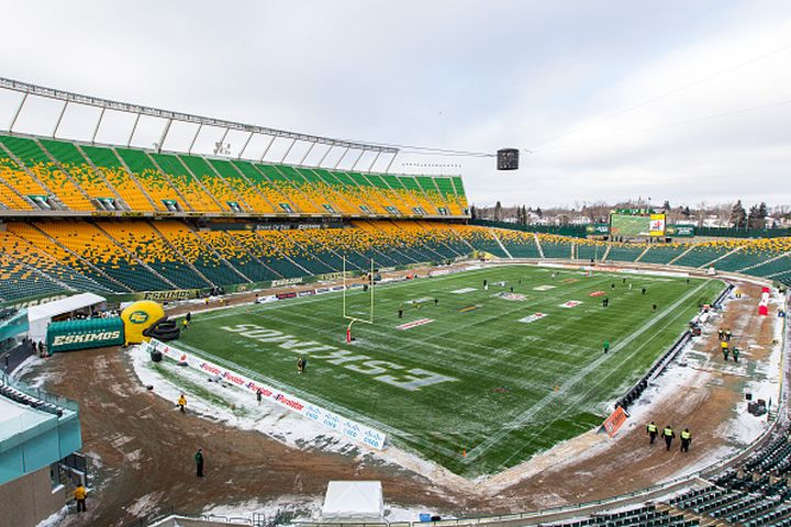 Overall shot of Commonwealth Stadium before the CFL Western Semi-Final game between the Saskatchewan Roughriders and Edmonton Eskimos at Commonwealth Stadium on November 16, 2014 in Edmonton, Alberta, Canada.