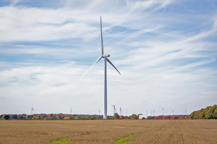 A wind farm near Shelburne, Ontario.