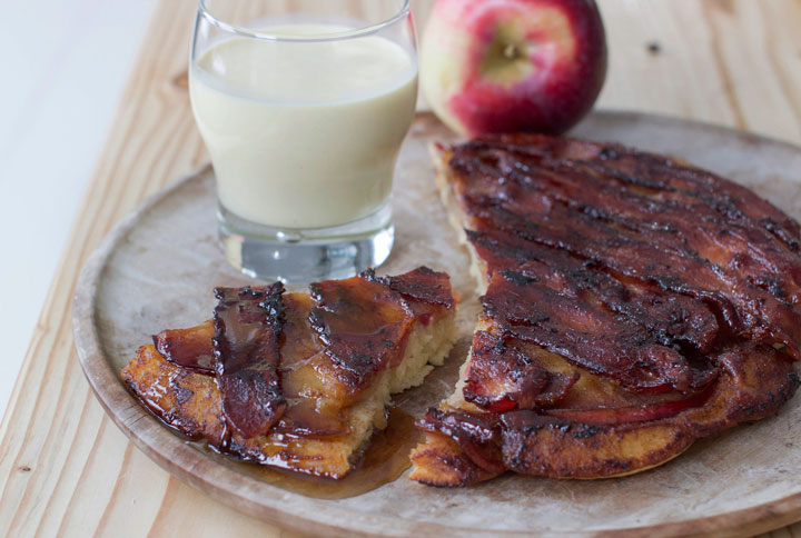 This Dec. 1, 2014, photo shows bacon apple baked pancake in Concord, N.H. The baked pancake was inspired by an upside down cake.