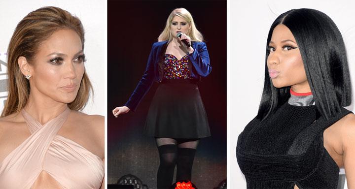 From left: Jennifer Lopez, Meghan Trainor and Nicki Minaj.