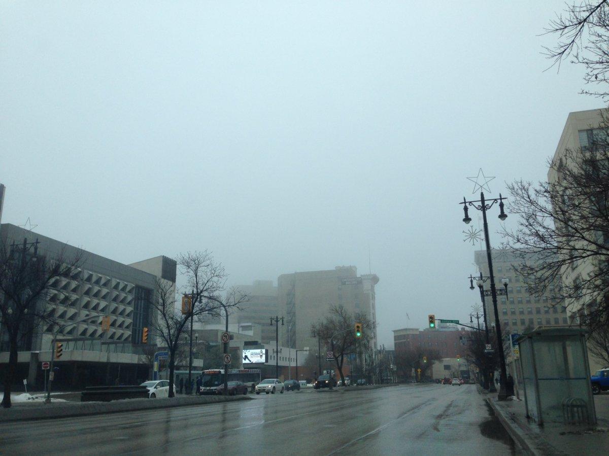 Dense fog blankets Winnipeg Saturday morning.
