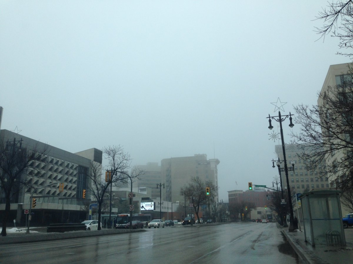 The above-seasonal temperatures and low-lying cloud made for foggy conditions in Winnipeg on December 13, 2014.
