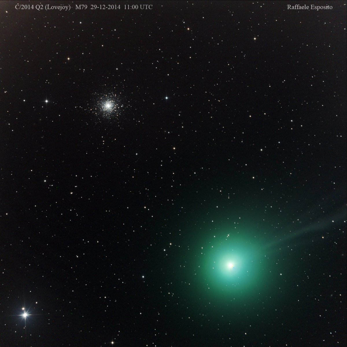 Comet Lovejoy, taken with a 20-inch remote telescope in Siding Spring, Australia. A star cluster, called Messier 79, is also seen.