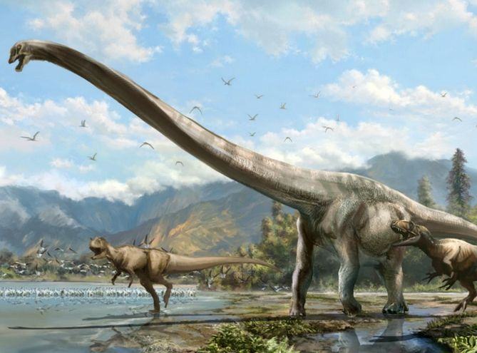 Artist's conception of Qijianglong, chased by two carnivorous dinosaurs in southern China 160 million years ago (Illustration: Lida Xing) http://uofa.ualberta.ca/.