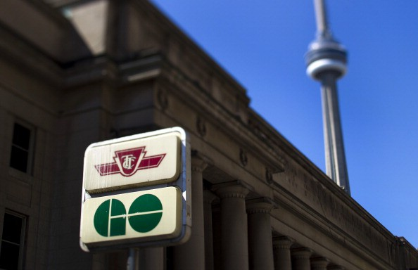GO Transit and Toronton Transit Commission (TTC) signage are displayed outside of Union Station in Toronto, Ontario, Canada, on Tuesday, Aug. 16, 2011.