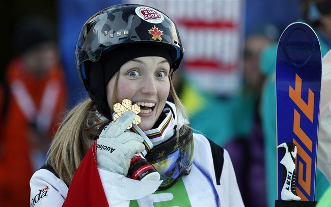 Canada's Justine Dofour-Lapionte celebrates her victory in the women's freestyle skiing single moguls final event at the Freestyle Ski and Snowboard World Championships in Kreischberg, Austria, Sunday, Jan. 18, 2015.