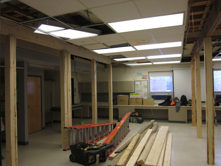 The Home Ec classroom at Aberdeen Composite School is currently closed while structural restoration is complete.