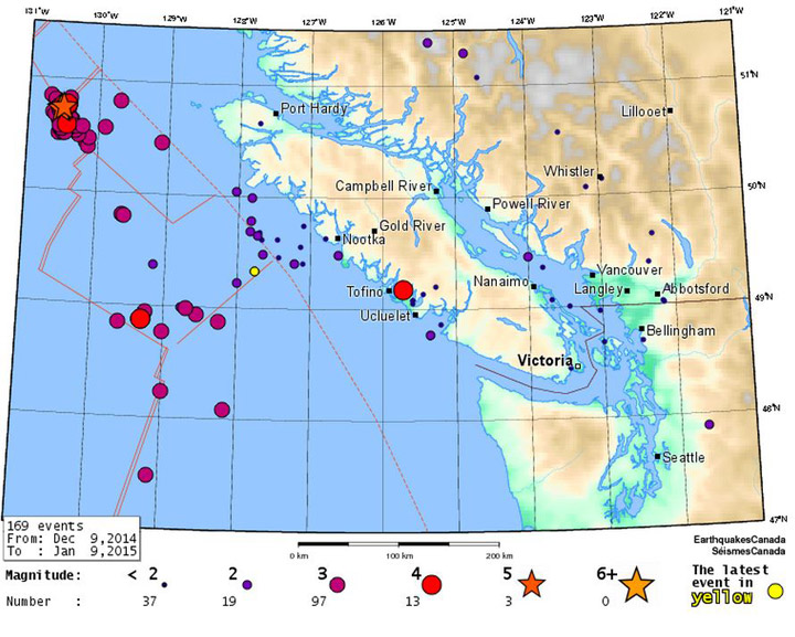 There has been an increase of earthquake activity off the coast of British Columbia over the past month.