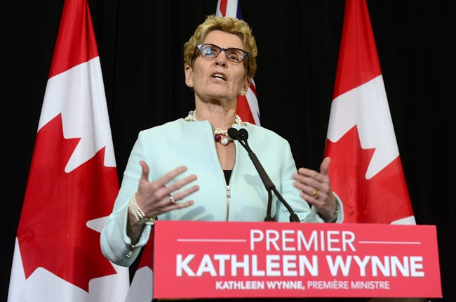 Ontario Premier Kathleen Wynne makes an announcement during a press conference at Queen's Park in Toronto on Tuesday, Jan. 6, 2015.