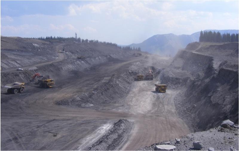 An open pit mine at the  Grande Cache  Coal mine in northwestern Alberta.