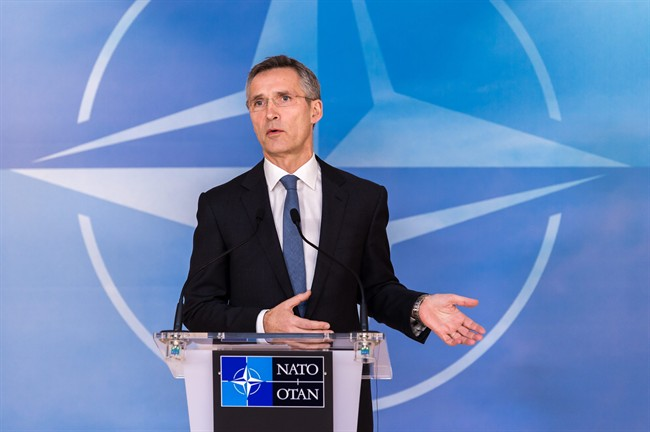 NATO Secretary General Jens Stoltenberg speaks during a media conference at NATO headquarters in Brussels on Monday, Jan. 26, 2015.