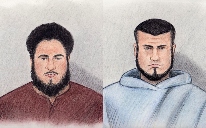 Court sketches made available to Global News of Ashton Larmond (left) and Carlos Larmond (right), who made brief court appearances via video in Ottawa Saturday in connection with terrorism charges.