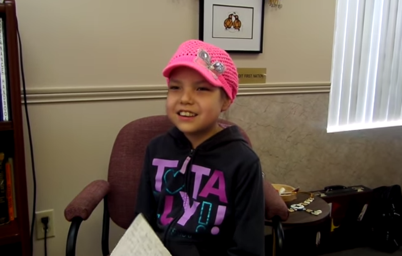 Makayla Sault,11, reads a statement in a YouTube video on why she is quitting her chemotherapy treatment posted May 13, 2014.