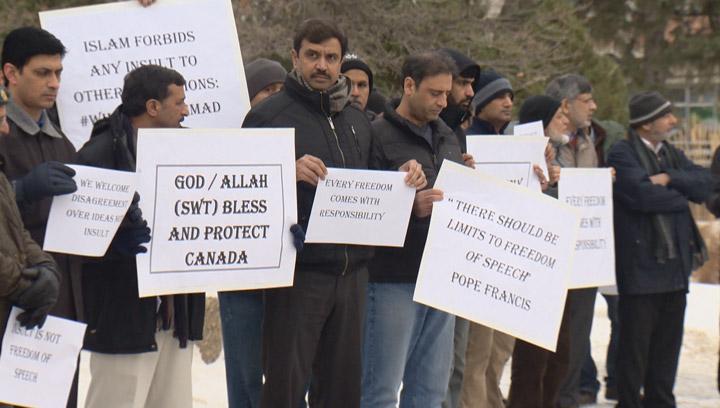 Members of Saskatoon's Muslim community rally, say there are certain limitations on free speech.