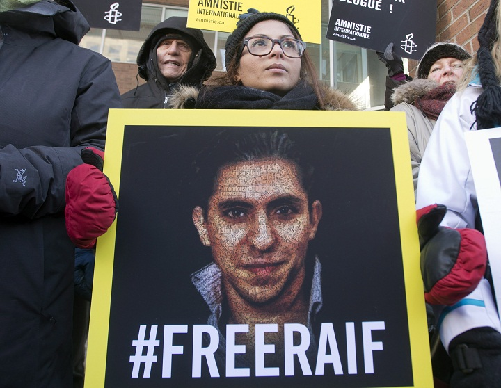 Ensaf Haidar, wife of blogger Raif Badawi, takes part in a rally for his freedom, Tuesday, January 13, 2015 in Montreal. Badawi was sentenced last year to 10 years in prison, 1,000 lashes and a fine of one million Saudi Arabian riyals (about $315,000 Cdn) for offences including creating an online forum for public debate and insulting Islam.