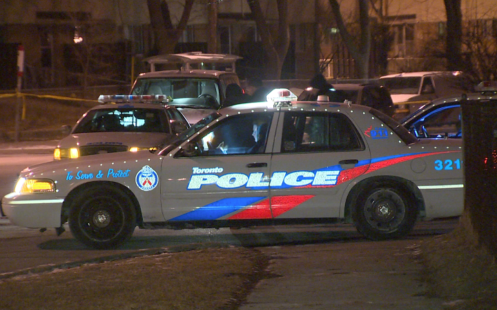 Toronto police investigate a homicide in the Lawrence Heights area on Jan. 28, 2015.