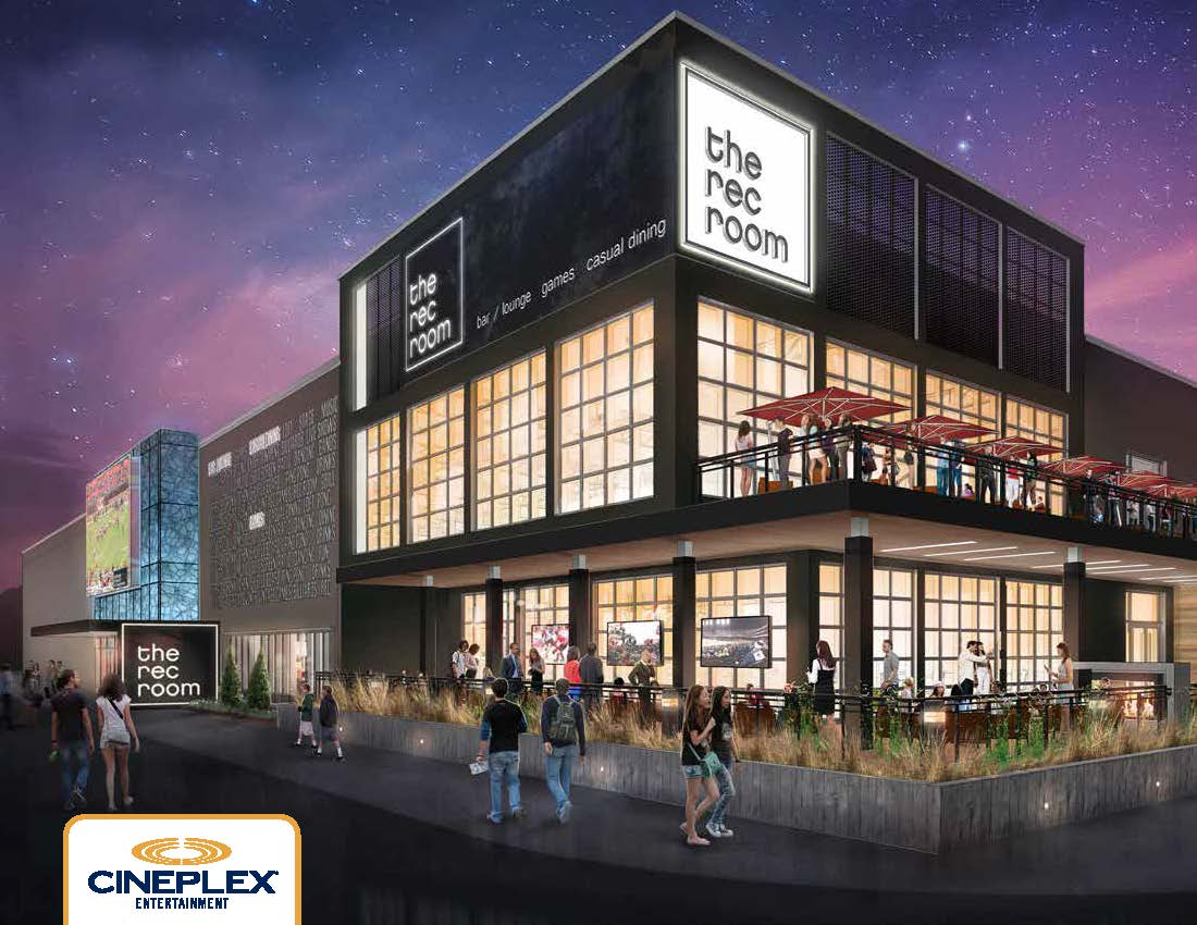 Rendering of The Rec Room  concept being launched by Cineplex Entertainment.