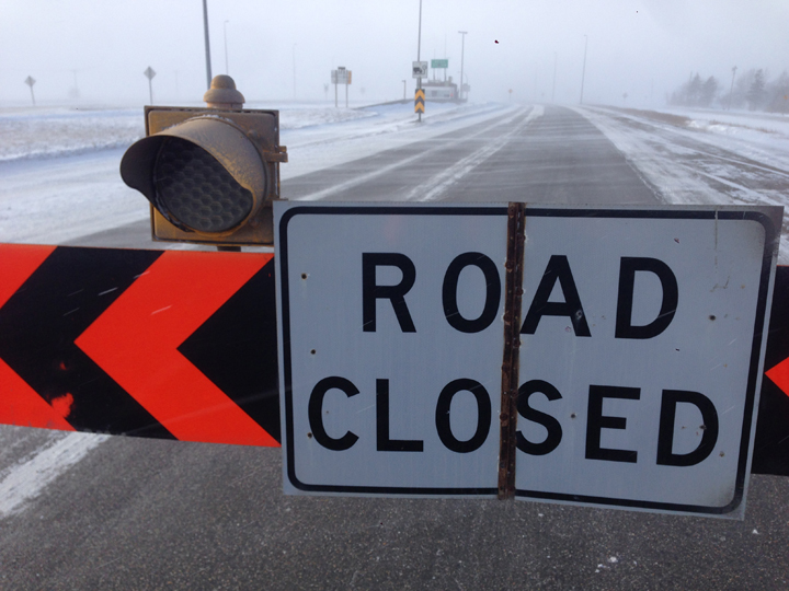 Trans-Canada Highway closed blowing snow Manitoba Winnipeg weather
