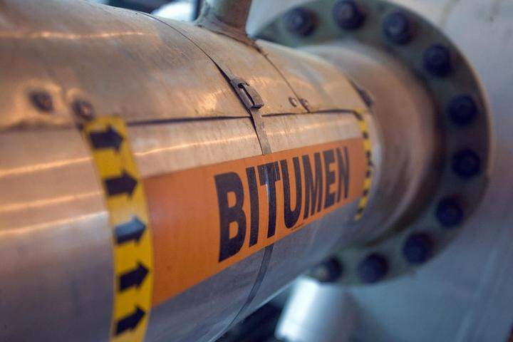 A bitumen line from the Total E&P Canada Ltd. Steam Assisted Gravity Drainage (SAGD) facility in the oil sands fields north of Fort McMurray.
